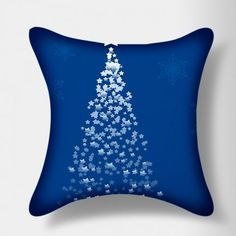 Stybuzz Blue Star Christmas Tree Cushion Cover  #XmasWithFabFurnish #gift #Christmas #stars #blue
