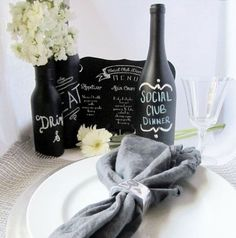 DIY Chalkboard Wine Bottle Centerpieces | Click Pic for 21 DIY Chalkboard Paint Ideas | Easy Decorating Ideas for The Home