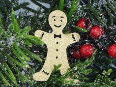 24 Gingerbread Man Cut Outs Gold Glitter by CreationsbyKimberlyb