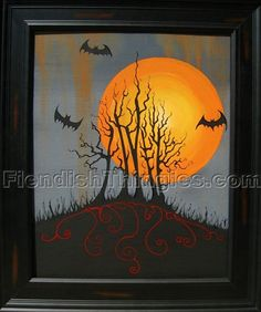This is Halloween 8 X 10 print of acrylic by FiendishThingies