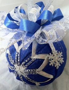 Silver and Blue Snowflake Quilted Ball Christmas Ornament on Etsy, $18.00