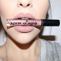 Nyx lingerie liquid lipstick in the color Bedtime Flirt.