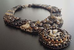 Embroidery necklace with  Czech golden dragon design cabochon