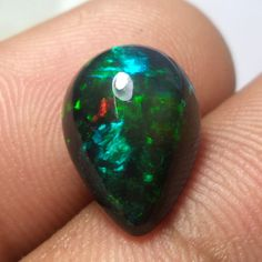 4.5 Ct 14x10.2 MM Natural Smoked Black Ethiopian Welo Fire Opal Pear Cabochon #Unbranded