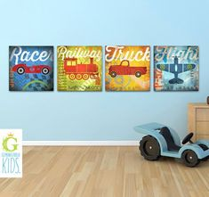 boys room planes trains automobiles and boats greys and blues - Google Search