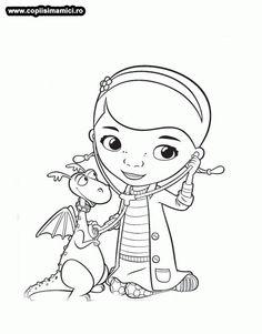 Desene de colorat cu Doctorita Plusica consulta Dragonul - PLANSE DE COLORAT DOCTORITA PLUSICA