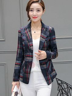 ccbf18eea22 Plus Size New Arrival Women Plaid Long Sleeve Single Breasted Slim Jacket  Office Lady Elegant Fashion Tops Hots Price history.