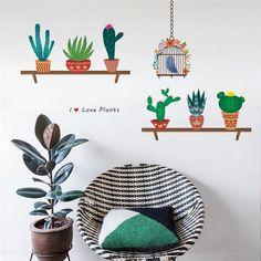 Do it yourself Cactus flower pot Wall Decals Autocollants Muraux Pour Maison Fenêtre Chambre Cuisine