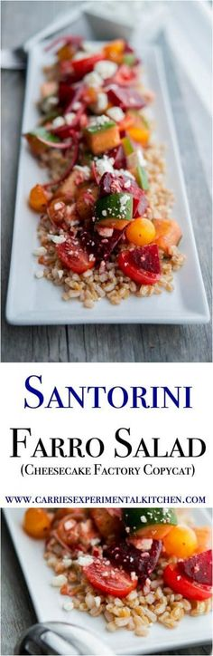 Satorini Farro Salad (The Cheesecake Factory Copycat) made with farro, beets, cucumbers, tomatoes, red onion and Feta cheese in a balsamic vinaigrette is filling with a depth of flavors. #salad #farro #beets #copycatrecipe