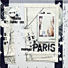 travel scrapbook layout, Paris