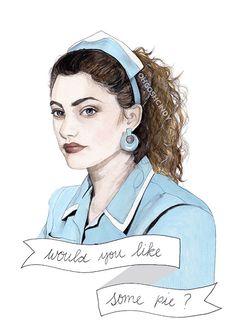 Shelly Johnson Twin Peaks watercolor portrait by ohgoshCindy