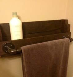 Industrial Ultimate Towel Bar & Shelf  by IndustrialHouseworks, $85.00