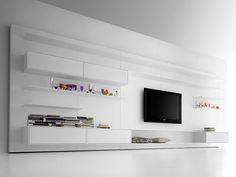 Flexible Rotating TV Stand and Wall Unit by MDF Italia images Tv Unit Interior Design, Tv Unit Furniture Design, System Furniture, Modern Furniture, Furniture Ideas, Tv Stand And Wall Unit, Moderne Pools, Tv Cabinet Design, Tv Unit Decor