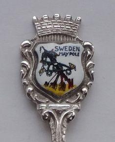 Collector Souvenir Spoon Sweden Maypole Coat of Arms