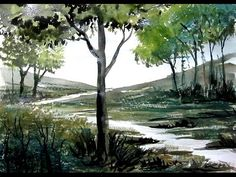 How to Paint a Lake - Watercolor Painting Demo | Paint with david - YouTube