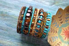 Купить Браслет Бирюза и Мед (3 варианта) - браслет, деревянный браслет, купить браслет