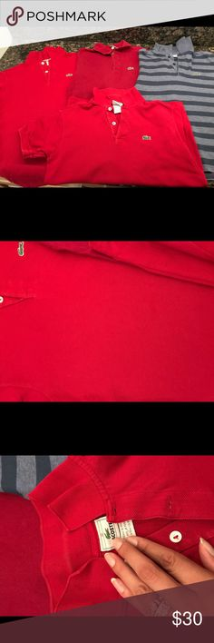 Bundle of 4 Lacoste Polos This is a bundle of 4 Lacoste Polos. These are all size 12 my son used the red ones for school. They are in good condition, they have some wear but nothing noticeable. Great for any little man. Shirts & Tops Polos