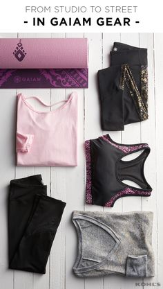 Getting motivated to hit the gym is much easier when you've got stylish workout gear to wear. Featured product includes: Gaiam 6mm Inner Peace reversible yoga mat, nirvana tunic, charisma colorblock yoga leggings in black gold foil, divine sports bra, glimmer yoga top and Om mesh yoga capris. Get healthy in 2017 with Kohl's.
