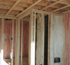 Batt insulation between walls and in exterior walls at the Plum Island Remodeling project