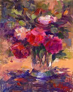 """ART & SPIRIT by Artist, NORA KASTEN: """"Sunlit Roses"""" Oil by Artist, NORA KASTEN"""