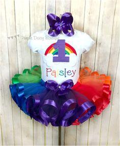 Primera cinta de cumpleaños del arco iris por PurpleDaisyBoutique