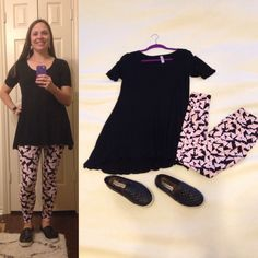 Black LuLaRoe Perfect Tee, Paper Airplane LuLaRoe leggings, black slip ons