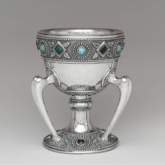Cup, Louis Comfort Tiffany for Tiffany Studios, c. 1905, silver, glass
