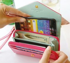 Candy Colored Cell Phone Wallet Wristlets, $9.99- this is the wallet I have! Except the outside is mint and the inside is light pink
