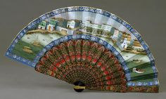 Fan with View of Canton and the American Garden, 1847-56, Guangzhou, China, AE85719 Lacquer, wood, and gouache on paner Gift of Leo A. and Doris C. Hodroff, 1998 AE85719   Fan with View of Canton and the American Garden, 1847-56  Peabody Essex Museum 2007 Photo Jeffrey R. Dykes cwOF_1847-56_AE85719_AmGard
