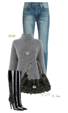 """""""Last winter outfit"""" by ksims-1 ❤ liked on Polyvore featuring Yves Saint Laurent, Warehouse, Burberry, Balenciaga, Louis Vuitton and David Yurman"""