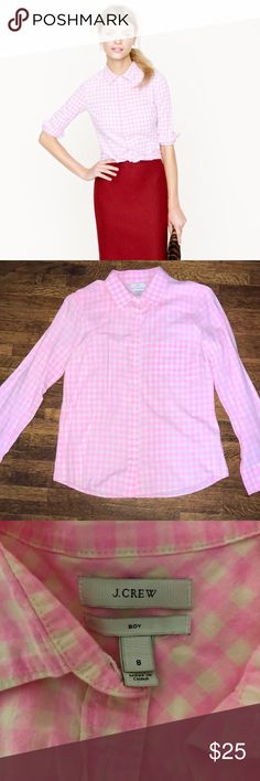 J Crew Boy fit shirt size 8 HOT pink This is a re-posh! Just isn't my style but it's so dang cute! Button down, great condition! Super fun hot pink for spring! 💕great used condition J. Crew Tops Button Down Shirts