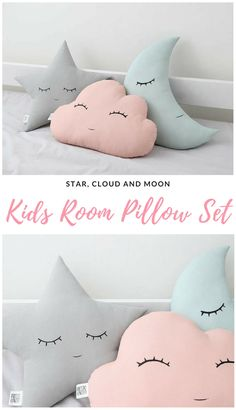 This pillow set including a star, cloud and moon is so adorable! Beautiful colors for a baby girl nursery or for a cute girl bedroom.#affiliate #babypillow #babynursery #babygirlnursery #nurserycloudstarmoon #girlbedroom