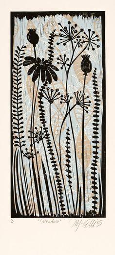 linocut print Meadow contemporary art skyblue by linocutheaven