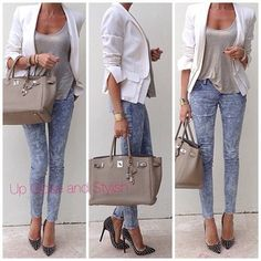 Acid wash jeans, tank and blazer! I want to try this outfit but with a Hot Pink Blazer Mode Outfits, Jean Outfits, Casual Outfits, Fashion Outfits, Womens Fashion, Jeans Fashion, Diva Fashion, Style Fashion, Acid Wash Jeans Outfit
