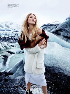 Vika Failileeva wears BOSS dress with Dior mink coat Lofficiel Switzerland Dec 2016 Ph: David Reiss Styled by Sylvester Yiu