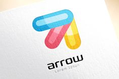 Vector colored arrow logo template by Vector-Stock on Creative Market