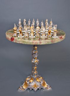 Italian chess table. Round Onyx and Bronze Chess Table
