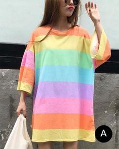 64858ebefc3 Rainbow striepd t shirt dress for women colorful drop shoulder tops