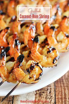 Coconut-Rum Grilled Shrimp - only 5 ingredients and this delicious summer dinner can be on the table in no time!