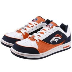 Reebok Denver Broncos White-Navy Blue-Orange Recline Tennis Shoes for Kevin Denver Broncos Shoes, Denver Broncos Womens, Go Broncos, Denver Broncos Football, Broncos Fans, Broncos Merchandise, Broncos Cheerleaders, Chicago Bears, Sport Fashion