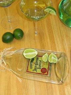 Flatten glass bottles in a convection oven…to make cutting boards or small serving trays, I love this!