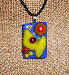 "Fused Glass Pendant - ""Garden Party"""