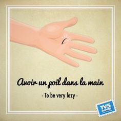 avoir un poil dans la main - expressions figées To have a hair in the hand. French Slang, French Grammar, French Phrases, French Words, French Quotes, English Words, How To Speak French, Learn French, Learn English