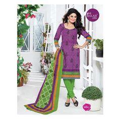 Cotton Suits - New Purple & Green Designer Churidar Salwar Suits