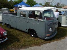 T2 VW DC. Slammed Bay Doka. Nice modern black rims.