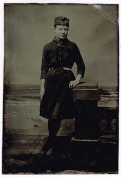 Young Lady in Her Bathing Suit With Ocean Back Ground 1860's - 1870's Tintype