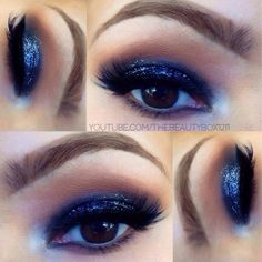 Royal Blue and Black Makeup tutorial