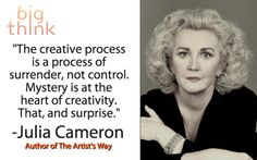 """Julia Cameron: """"The creative process is a process of surrender, not control. Julia Cameron, The Artist's Way, Spiritual Practices, Writing Inspiration, American Artists, Writing A Book, Great Quotes, Self Help, Helping People"""