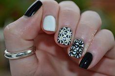 Little Red Loves: Black & White Geometric Nail Art