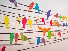 Birds on a wire group collage. This would be good for patterne, painted paper or collaged birds: